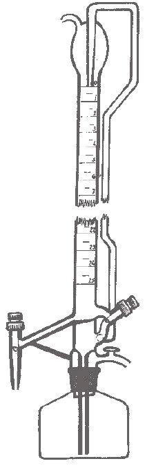Bureta de sobremesa con franja y dos llaves de PTFE (cónica), Clase A