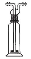 Frasco lavador de gases con tapón en boca y placa prorosa
