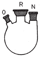 Matraz esférico con tres bocas, la central con rótula